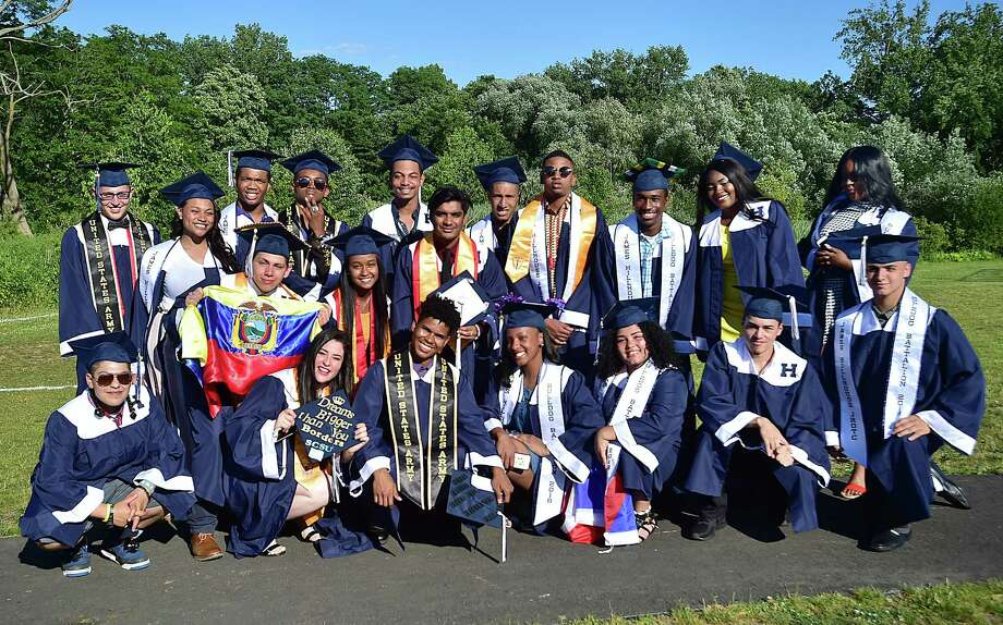 Members of the class of 2018 at James Hillhouse High School entering the military at commencement exercises at Bowen Field in New Haven, Tuesday, June 19, 2018. Photo: Catherine Avalone, Hearst Connecticut Media / New Haven Register