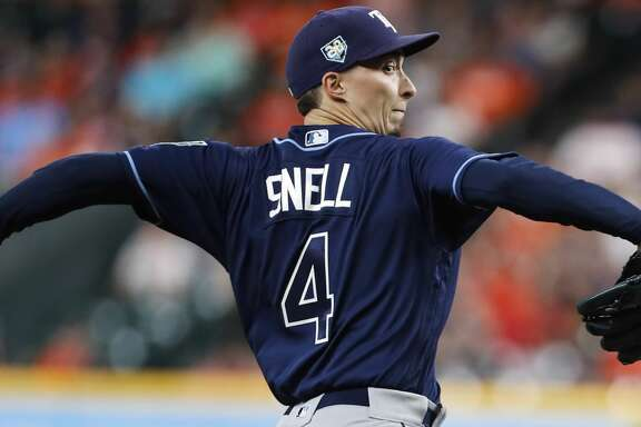 Tampa Bay Rays starting pitcher Blake Snell (4) pitches to the Houston Astros during the first inning of a major league baseball game at Minute Maid Park on Tuesday, June 19, 2018, in Houston. ( Brett Coomer / Houston Chronicle )