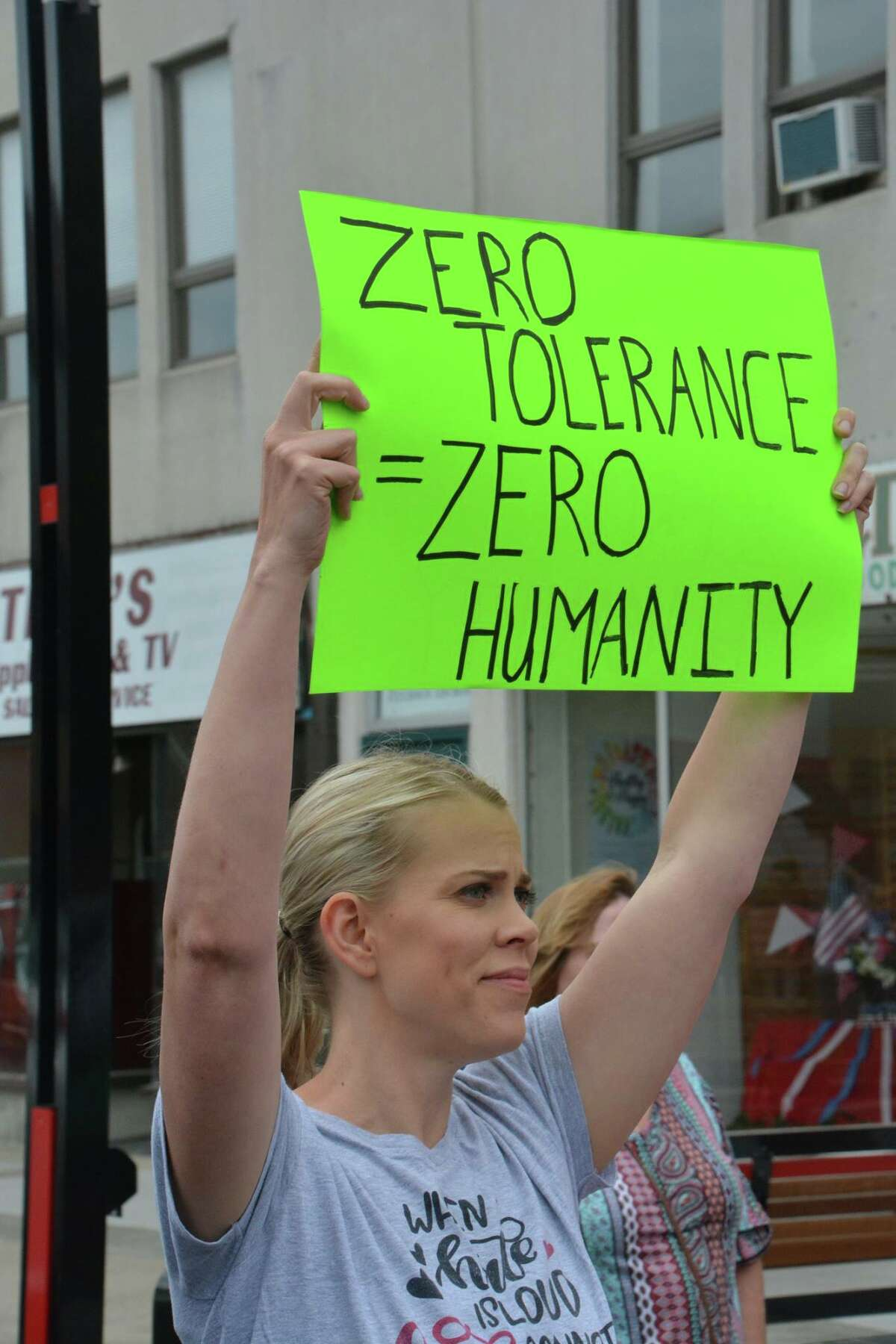Scenes from the 'Keep Families Together' protest Tuesday, June 19, 2018 in downtown Midland. Protesters oppose the decision to separate immigrant families at the border. (Photo provided/P3Images)