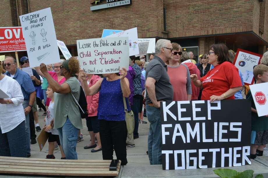Scenes from the 'Keep Families Together' protest Tuesday, June 19, 2018 in downtown Midland. Protesters oppose the decision to separate immigrant families at the border. (Photo provided/P3Images) Photo: Photo Provided/P3Images