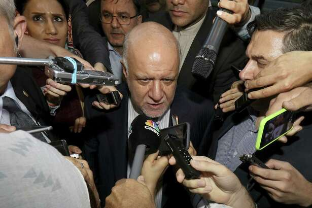 Iran's Minister of Petroleum Bijan Namdar Zangeneh speaks to journalists at a hotel in Vienna, Austria, Tuesday, June 19, 2018. Iran wants to leave OPEC production caps in place.