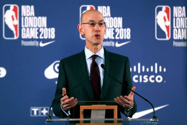 NBA Commissioner Adam Silver chairs a press conference before the NBA London Game 2018 at the O2 Arena, London. (Photo by Simon Cooper/PA Images via Getty Images)