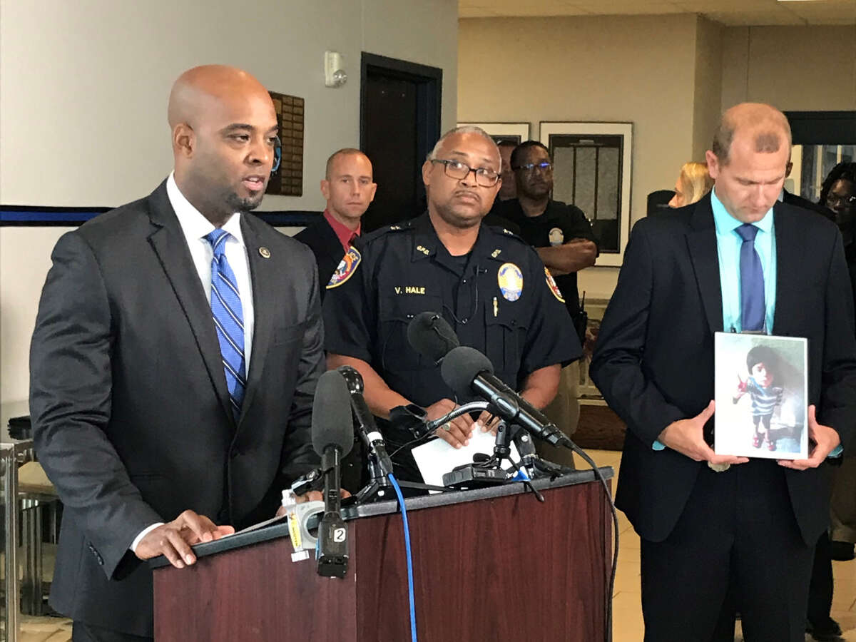 The FBI's Brian Gaines talks to the media Wednesday as authorities identified the body of the boy that washed up on a Galveston beach last year.