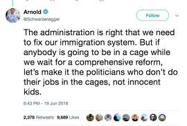 """Former California Governor and actor Arnold Schwarzenegger jumped into the bipartisan debate Tuesday around President Donald Trump's """"zero tolerance"""" policy to illegal border crossings that is separating families."""