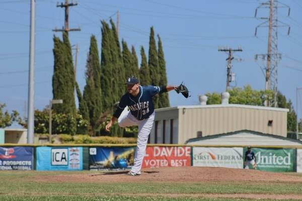 Max Beatty, the winning pitcher for the San Rafael Pacifics on Father's Day, 2018