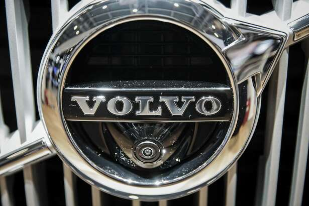 A badge is seen on a Volvo Cars S60L sedan displayed at the 2016 Beijing International Automotive Exhibition.