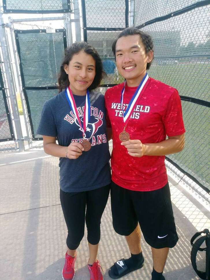 Westfield's Esmerelda Martinez and Kenneth Lam placed third in mixed doubles, this spring at the District 16-6A Varsity Tennis Tournament, to help give the Mustangs second overall.