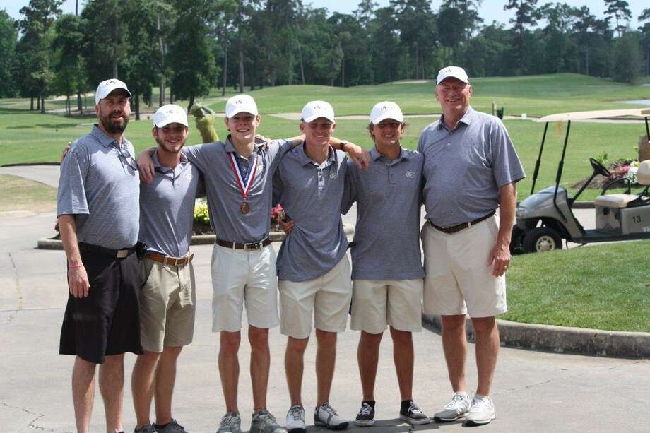 In his last year as head golf coach at Klein Collins, Steve Bruce (far right) graduated five varsity golfers. The boys finished fourth at the District 15-6A Varsity Tournament and the girls fifth.