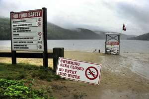 File photo of Squantz Pond in New Fairfield closed to swimmers.