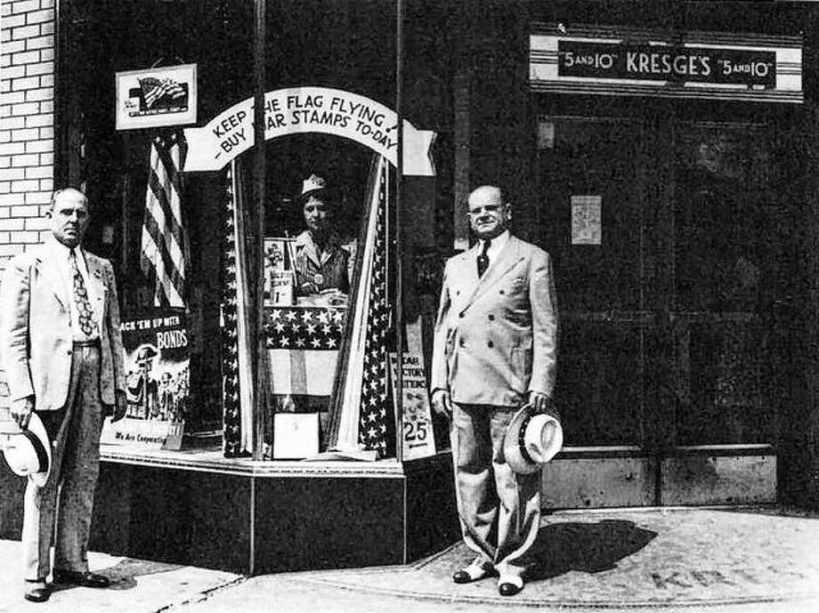 The war effort depended heavily on the sales of War Stamps and War Bonds to provide funds. Sales were held at a number of different locations in the Alton business district. This photo was take at the Kresge Store (at the corner of Third and Piasa) in 1942. Photo:       File Photo