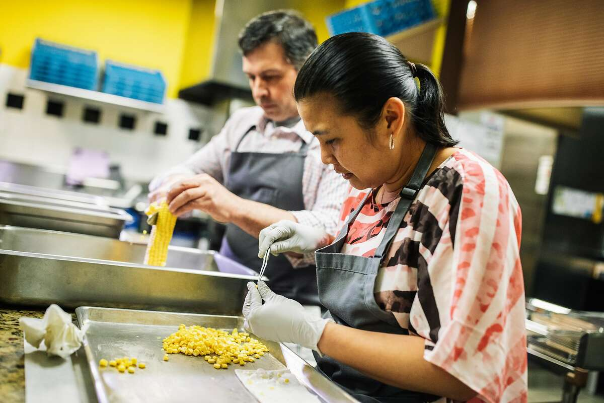 Chef Bruno Chemel and wife Christie work at their Michelin two-starred Baum� in Palo Alto, Calif. on Tuesday, June 19, 2018.