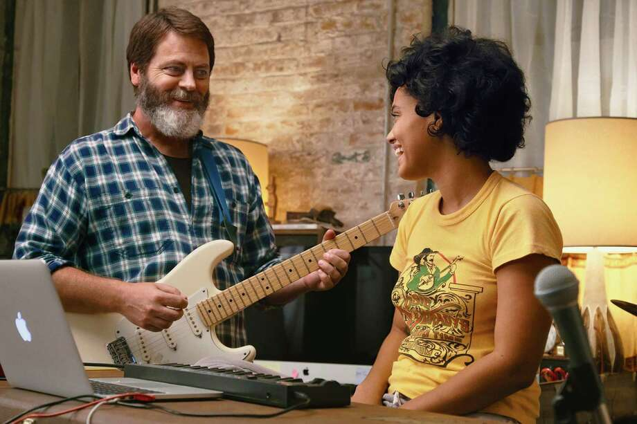 "Nick Offerman and Kiersey Clemons in ""Hearts Beat Loud."" Photo: Gunpowder & Sky, HO / TNS / Los Angeles Times"