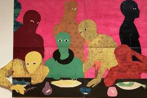 """A portion of """"La Cena (The Supper),"""" the last colorful collograph the late artist Belkis Ayon made before deciding that dire conditions in Cuba were best rendered in black and white."""