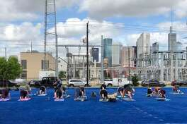 Enjoy free yoga at the Blue Field Market this Sunday.