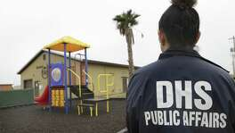 "Secretary of Homeland Security Jeh Johnson toured the new South Texas Family Residential Center, just outside Dilley, Texas.  Detained immigrants that are currently being held in Artesia will begin arriving at the Dilley facility within the next two weeks.   Monday, Dec. 15, 2014. This pictured facility, which was a ""man camp"" for the oil industry, will be used for approximatly 45 day until the new facility is completed."