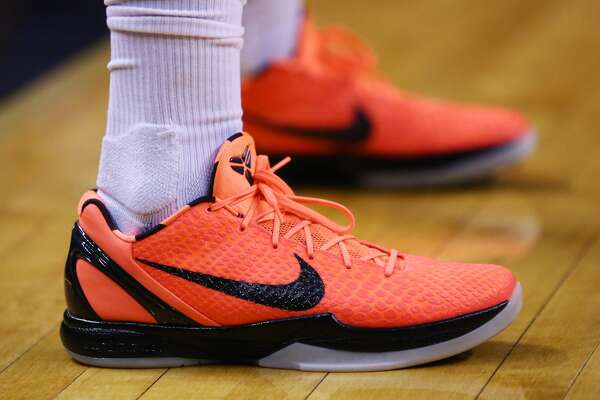 TORONTO, ON - MARCH 9: The shoes worn by P.J. Tucker #4 of the Houston Rockets during the first half of an NBA game against the Toronto Raptors at Air Canada Centre on March 9, 2018 in Toronto, Canada. NOTE TO USER: User expressly acknowledges and agrees that, by downloading and or using this photograph, User is consenting to the terms and conditions of the Getty Images License Agreement. (Photo by Vaughn Ridley/Getty Images)