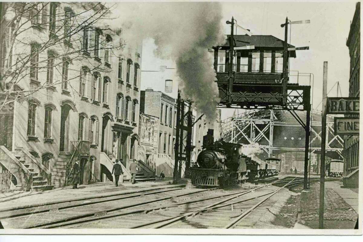 Troy's Sixth Avenue Brothel District c.1910. The train is coming out of the train shed, heading south to the tunnel under Congress and Ferry Streets. (Photo courtesy of Rensselaer County Historical Society)