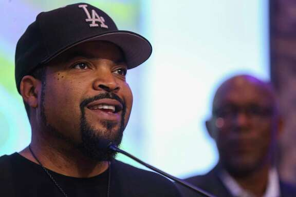 BIG3 co-founder Ice Cube addresses the crowd at a press conference celebrating the BIG3 basketball league's upcoming opening night this Friday in Houston at City Hall, Wednesday, June 20, 2018 in downtown Houston. The BIG3 is a 3-on-3 basketball league that features former NBA players both playing and coaching.