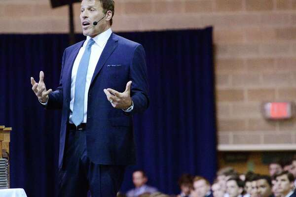 Tony Robbins, a motivational speaker and life success coach, gives the commencement speech during the Brunswick School Commencement at the school in Greenwich in 2015. Last year, fitness center OsteoStrong won an endorsement from Robbins.