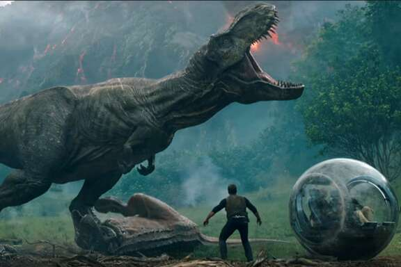 "A scene from the film ""Jurassic World: Fallen Kingdom."""