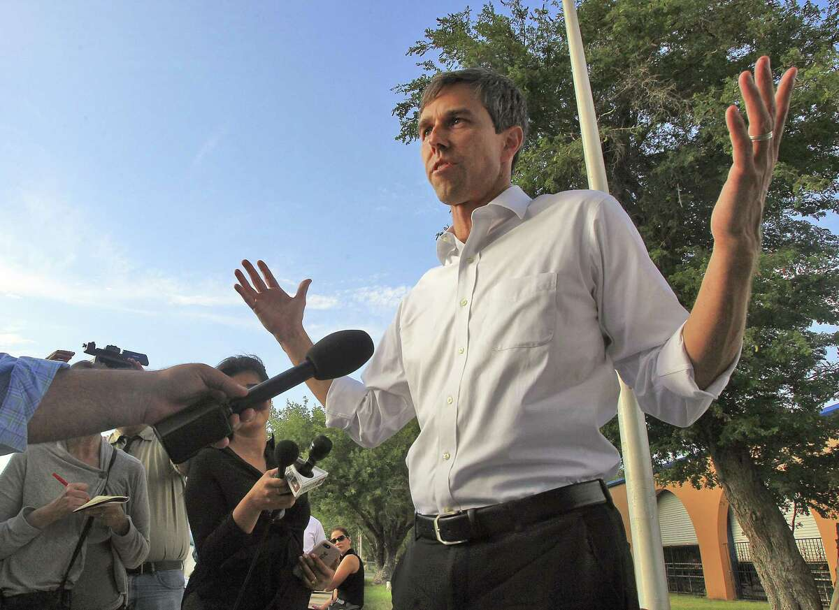 FILE - In this June 11, 2018, file photo, candidate for U.S. Senate from Texas, Beto O'Rourke, speaks during a news conference at the Hidalgo Memorial Park in Hidalgo, Texas, after seeing children and other family members detained by U.S. Customs and Border Protection after illegally crossing into the United States. (Joel Martinez/The Monitor via AP, File)
