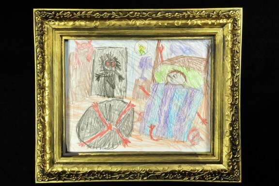 "A piece of art displayed at the Wilde Collection's ""Nightmares & Invisible Friends"" exhibit, which mines children's fears and imaginary friends for art."