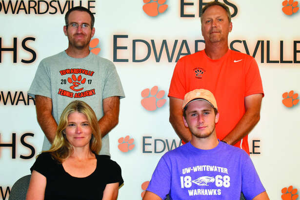 EHS senior Alex Gray will play tennis for the University of Wisconsin-Whitewater. Seated with Alex Gray, right, is his mother Jill Pifer. Standing are EHS assistant coach Kirk Schlueter and coach Dave Lipe.