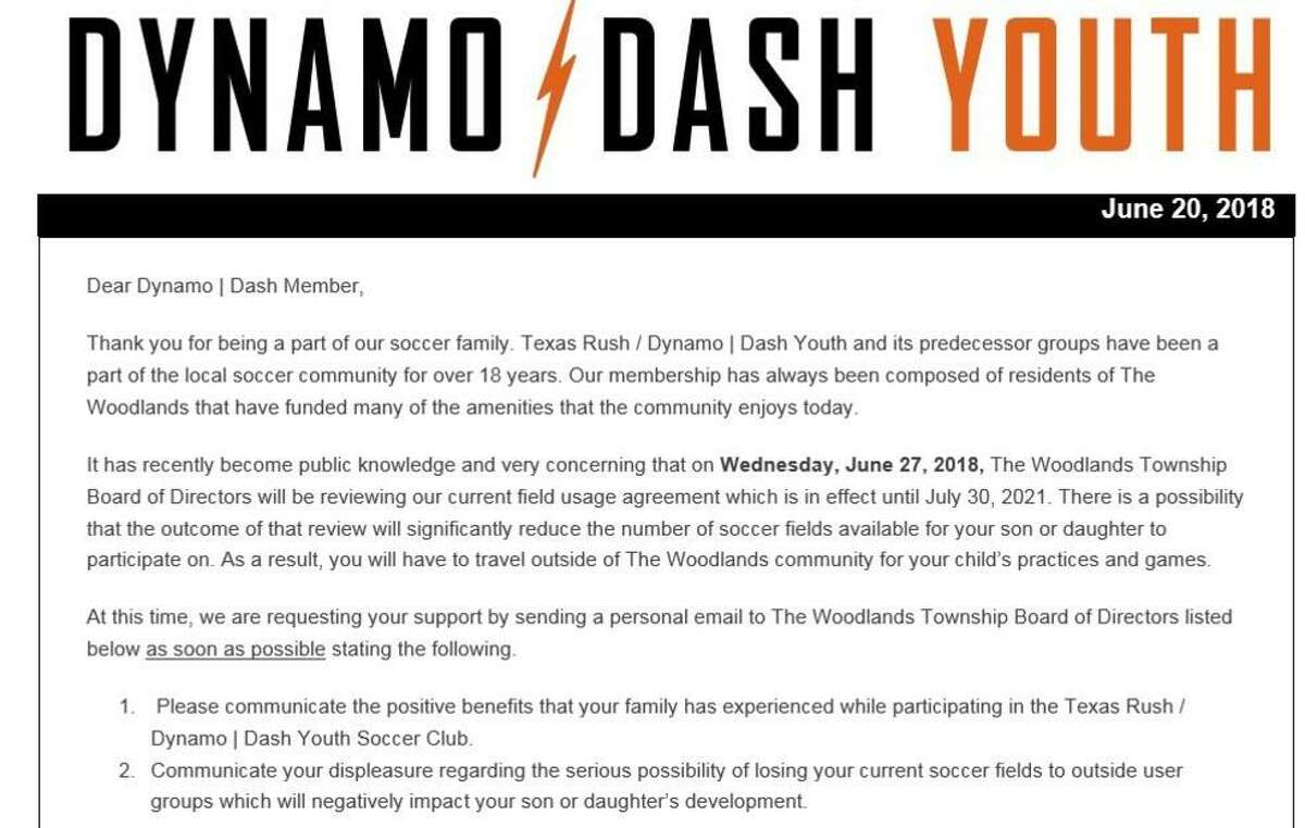 Upon learning of potential action by The Woodlands Township Board Member John McMullan, who had proposed to terminate the Township's exclusive contract with the Dynamo/ Dash Youth Soccer Club, the soccer club's technical director, Don Gemmell, sent an email to players and parents, asking them to speak on behalf of the club at the June 27 Board meeting. The result was scores of people attending the meeting, both in favor of the Dynamo-Dash arrangement and against it.