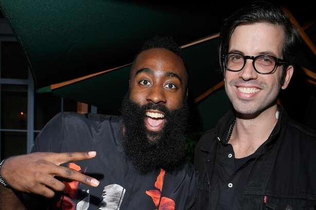 MILAN, ITALY - JUNE 16: James Harden and Will Welch attend the GQ Milan Cocktail Party during Milan Men's Fashion Week Spring/Summer 2018/19 on June 16, 2018 in Milan, Italy. (Photo by Victor Boyko/Getty Images for GQ)