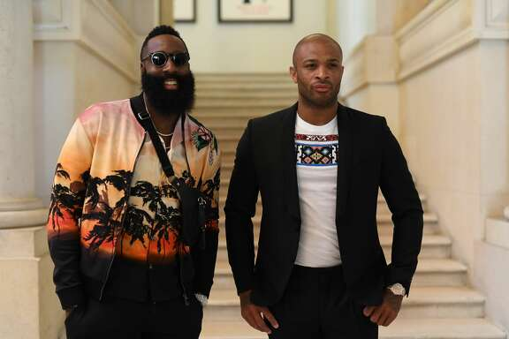 PARIS, FRANCE - JUNE 20:  James Harden and P. J. Tucker attend the Valentino Menswear Spring/Summer 2019 show as part of Paris Fashion Week on June 20, 2018 in Paris, France.  (Photo by Pascal Le Segretain/Getty Images)