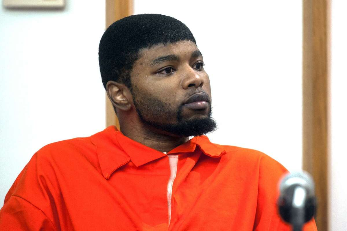 Jermaine Richards listens as Alyssiah Marie Wiley's family members speak during his sentencing in Bridgeport Superior Court, in Bridgeport, Conn. March 2, 2018. Richards was sentenced to 60-years for the 2013 murder of Wiley.