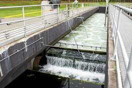 Treated wastewater is discharged from an aeration chamber into the Naugatuck River at the Water Pollution Control Facility in Torrington.