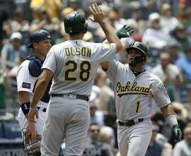 Oakland Athletics' Franklin Barreto, right, gets congratulations from Matt Olson, with San Diego Padres catcher A.J. Ellis, left, looking away after Barreto hits a three-run home run during the second inning of a baseball game against the San Diego Padres in San Diego, Wednesday, June 20, 2018. (AP Photo/Alex Gallardo)