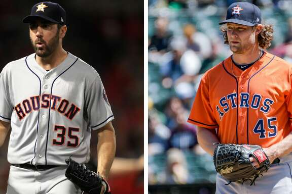 Split photo of Astros starters Justin Verlander and Gerrit Cole.