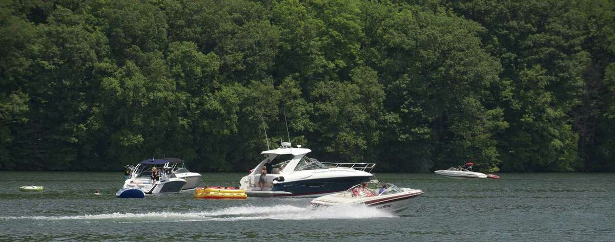 Power boats on Candlewood Lake in Sherman, Conn, in this file photo.