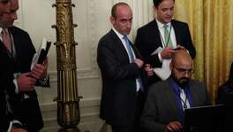 White House senior adviser Stephen Miller (left) is not a conservative. He was formed by rebellion against the stifling conformity they found at liberal universities. Their primary orientation is not to conservative governance but to owning the liberals.