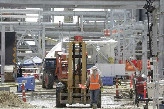 Construction site of LyondellBasell's polyethylene plant in Friday, June 15, 2018 in LaPorte. The new technology for the plant is suppose to give them an edge.  (Elizabeth Conley/Houston Chronicle)
