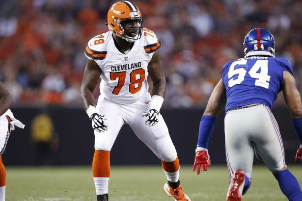 CLEVELAND, OH - AUGUST 21: Roderick Johnson #78 of the Cleveland Browns in action during a preseason game against the New York Giants at FirstEnergy Stadium on August 21, 2017 in Cleveland, Ohio. (Photo by Joe Robbins/Getty Images)