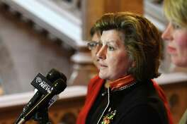 Syracuse Mayor Stephanie Miner, center, speaks during a press conference where Susan Lerner, executive director of Common Cause New York, left, and Zephyr Teachout, right, pitched an ethics reform blueprint plan on Tuesday, Jan. 17, 2017, at the Capitol in Albany, N.Y. (Will Waldron/Times Union)