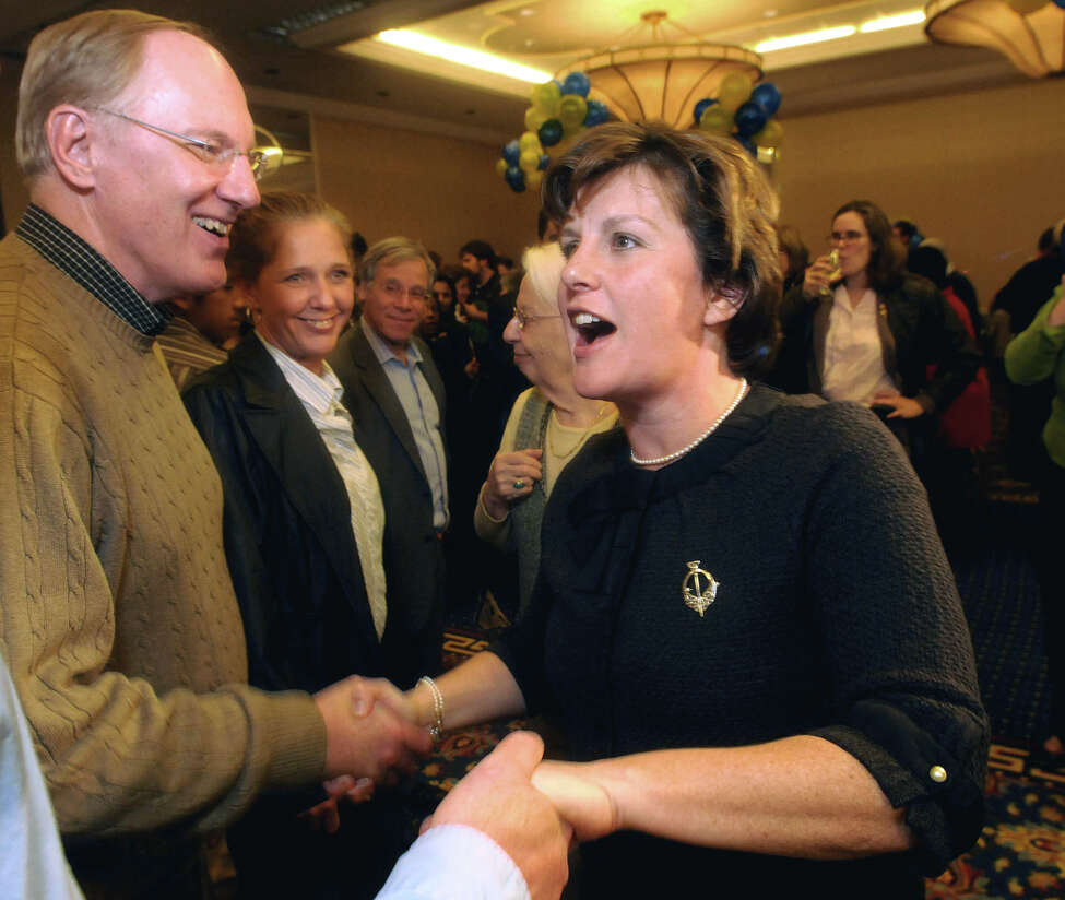 In this Nov. 3, 2009 file photo, Syracuse Mayor elect Stephanie Miner greets Jim Jackson after her victory speech at the University Sheraton Regency Ballroom in Syracuse, N.Y. Miner, the Democratic incumbent, faces challenges in the primary, Tuesday, Sept. 10, 2013 from City Councilor Pat Hogan and Alfonso Davis, an insurance agent. (AP Photo/The Post Standard, /Mike Greenlar, File) ORG XMIT: NYSYR105