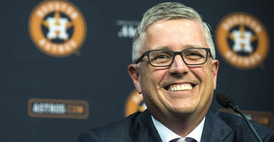 Houston Astros' Jeff Luhnow smiles as he answers questions during a news conference announcing that he has been named President of Baseball Operations and General Manager at Minute Maid Park on Monday, June 18, 2018, in Houston. Luhnow also was given a contract extension through the 2023 season. ( Brett Coomer / Houston Chronicle ) Photo: Brett Coomer/Houston Chronicle