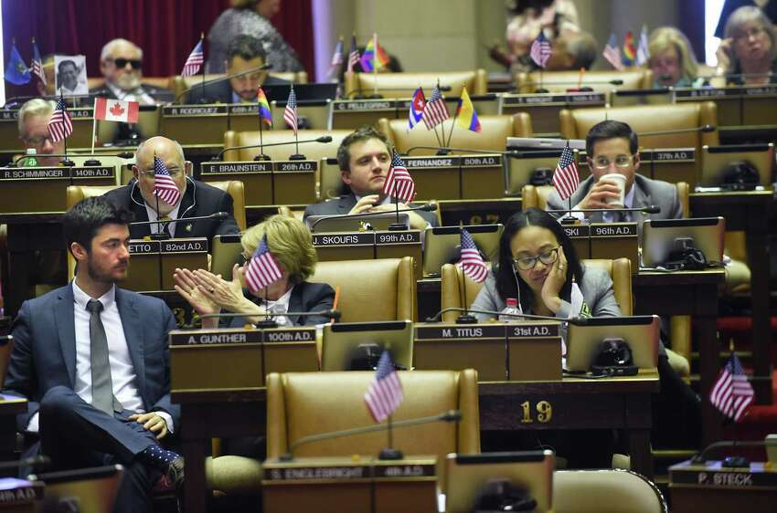 Assemblymembers vote on bills in the assembly chamber on the final day of session at the Capitol Wednesday, June 20, 2018 in Albany, N.Y.(Lori Van Buren/Times Union)