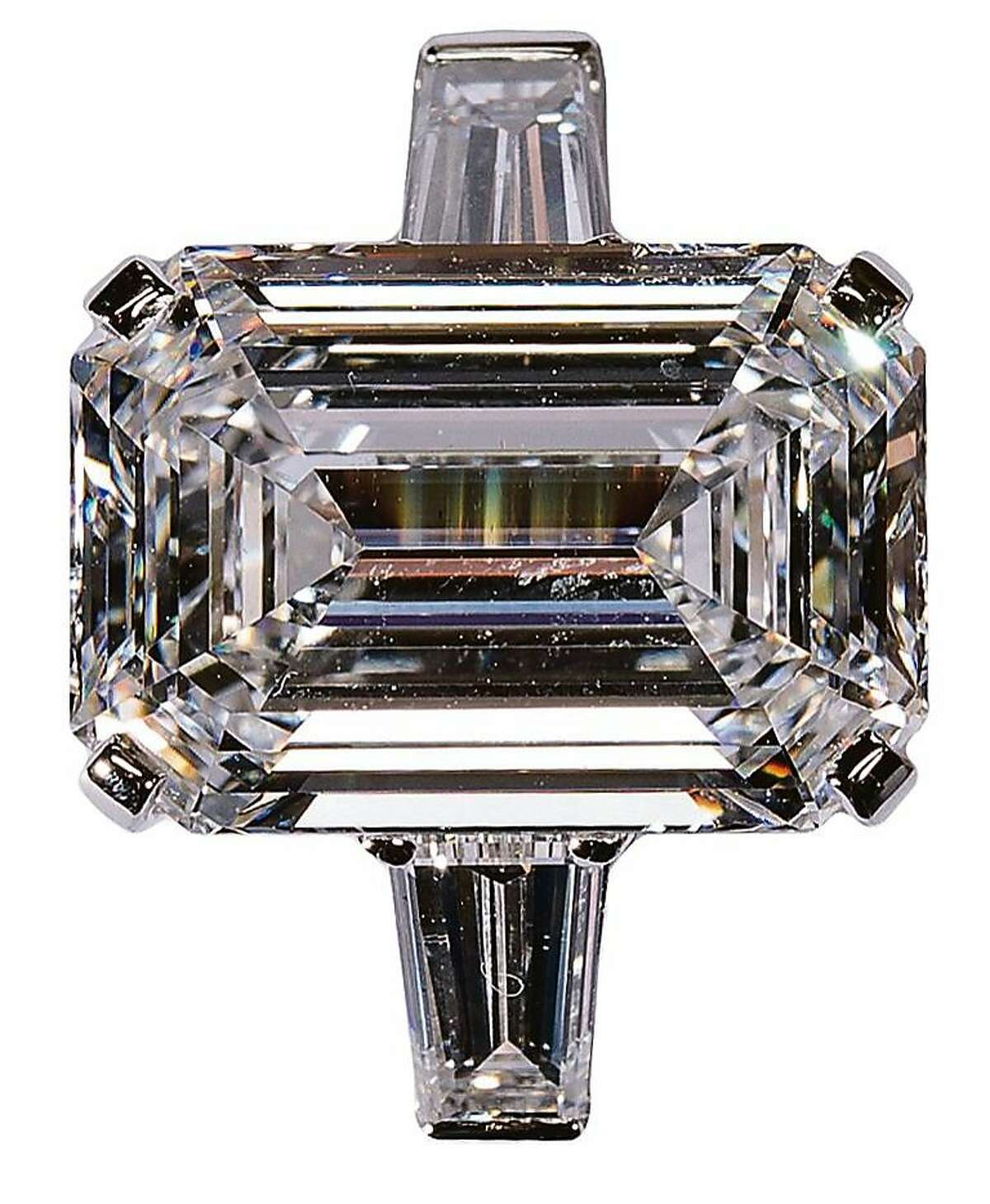 White emerald-cut 6.61-carat D-flawless diamond in platinum with white tapered baguettes, price upon request, Graff Diamonds, 237 Post St.
