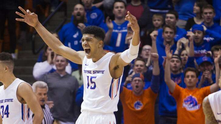 FILE - In this Jan . 13, 2018, file photo, Boise State guard Chandler Hutchison celebrates during the team's 83-80 win over San Diego State in an NCAA college basketball game  in Boise, Idaho. Hutchison is a possible pick in Thursday's NBA Draft. (Darin Oswald/Idaho Statesman via AP, File)