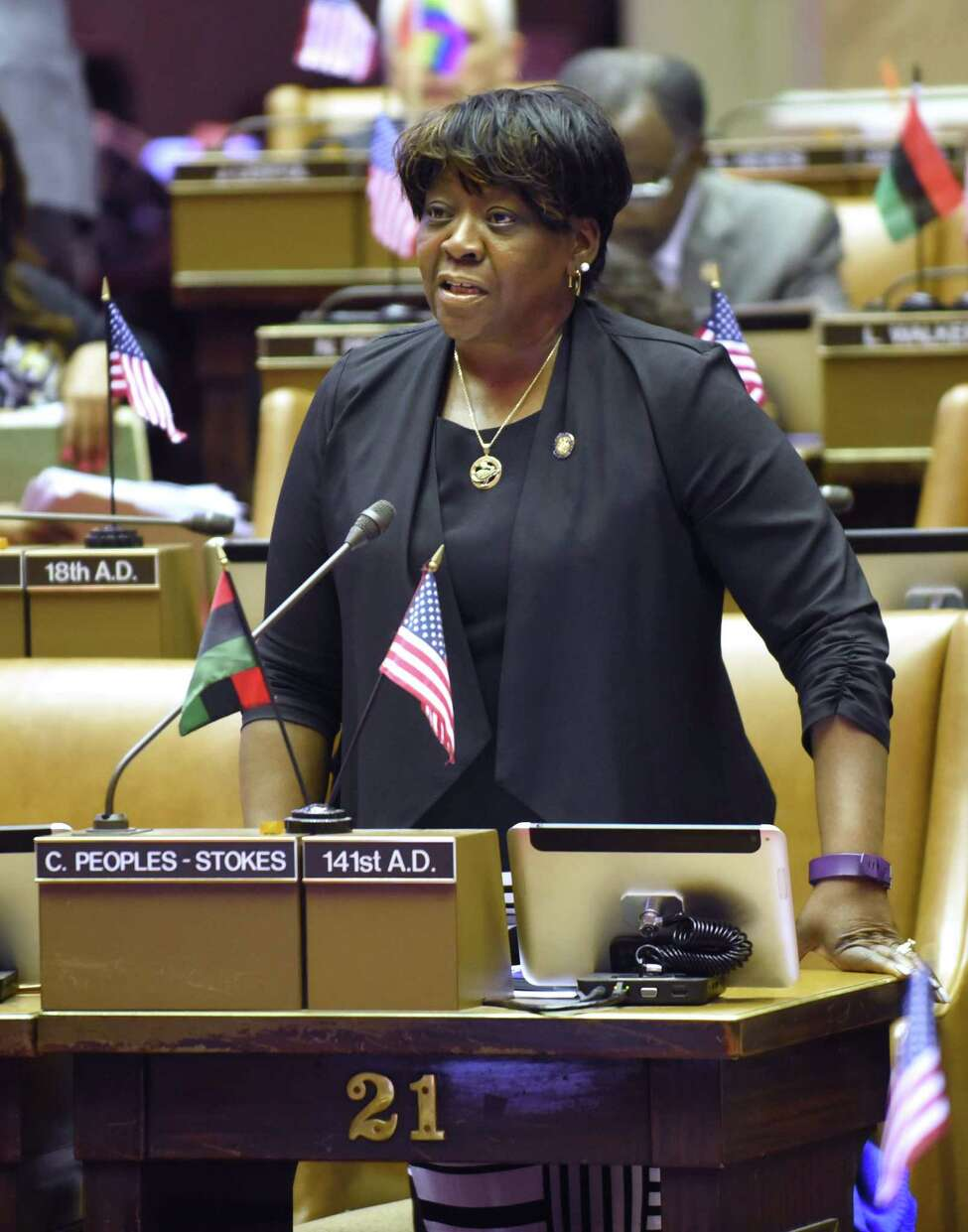 Assemblymember Crystal Peoples-Stokes sponsors legislation to legalize marijuana and will help lead a series of public hearings conducted by the state Assembly in the fall.(Lori Van Buren/Times Union)