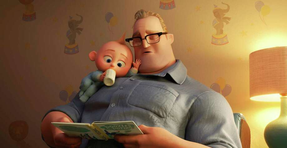 """This image released by Disney Pixar shows characters Bob/Mr. Incredible, voiced by Craig T. Nelson, right, and Jack Jack in """"Incredibles 2."""" (Disney/Pixar via AP) Photo: Pixar / ©2017 Disney•Pixar. All Rights Reserved."""