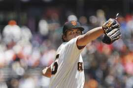 Derek Holland (45) of the San Francisco Giants was the starting pitcher against the Miami Marlins at AT&T Park on Wednesday, June 20, 2018 in San Francisco, Calif.