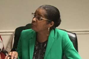 Bridgeport Schools Superintendent Aresta Johnson telling city council members she is appalled after City OPM Director NestorNkworeports city is paying for school bonding funds as if they were doing the district a favor. April 18, 2018.