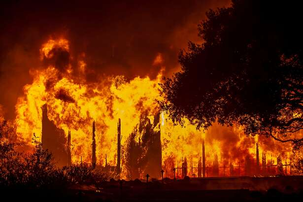 Fire totally engulfed the main structure at the Paras Vineyards as fire from the Nuns Fire continue to burn west of downtown Napa, California, USA 10 Oct 2017.
