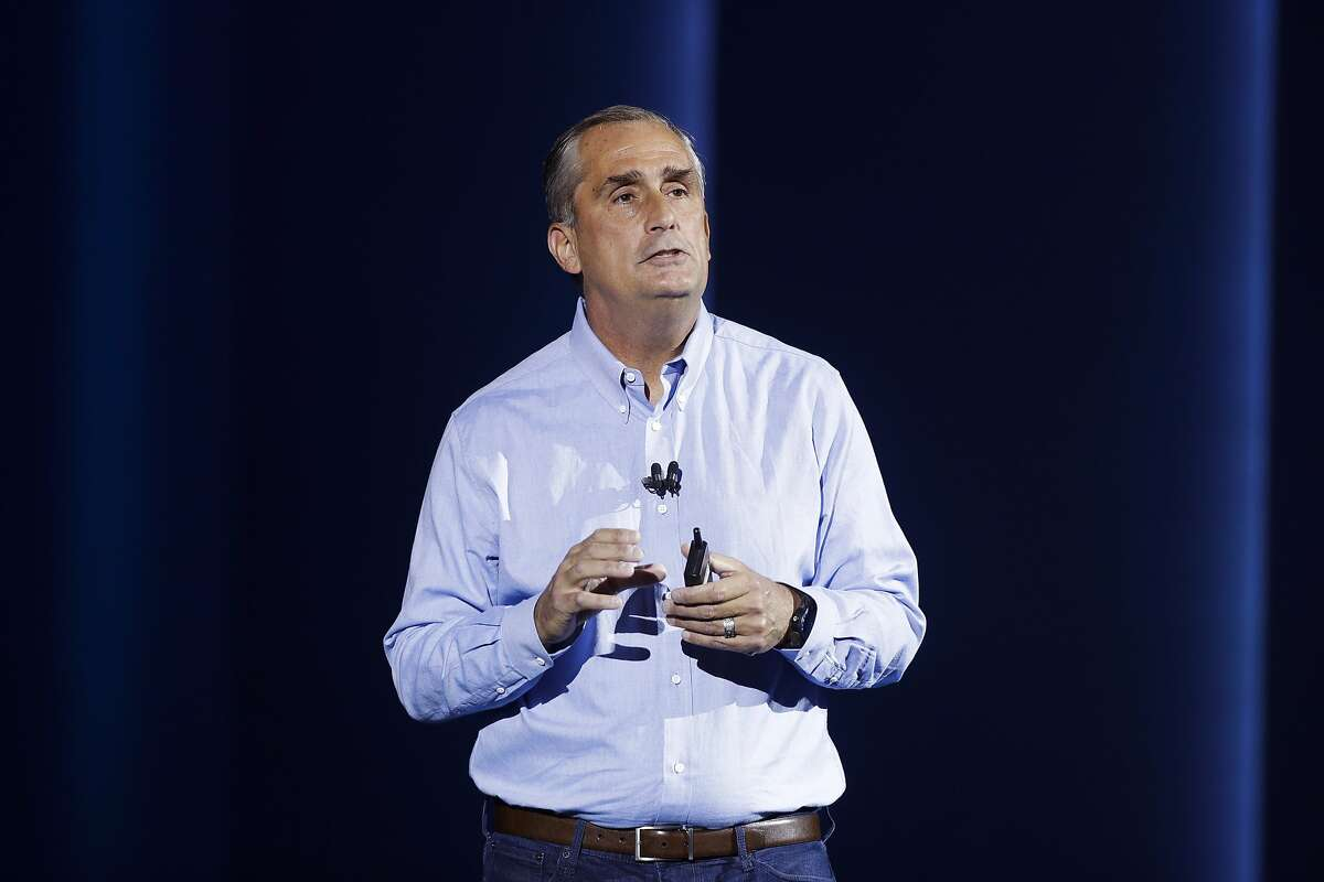 FILE- In this Jan. 8, 2018, file photo, Intel CEO Brian Krzanich delivers a keynote speech at CES International in Las Vegas. Krzanich is resigning after the company learned of a consensual relationship that he had with an employee. Intel said Thursday, June 21, that the relationship was in violation of the company's non-fraternization policy, which applies to all managers.(AP Photo/Jae C. Hong, File)